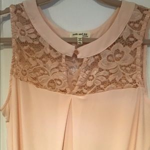Faith and Joy pink dress tank with lace.